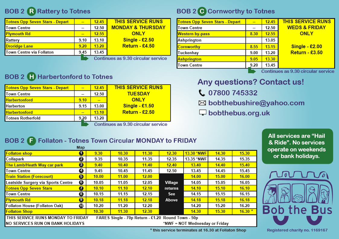 Bob 2 current timetable